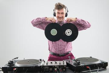 DJ having fun with vinyl record
