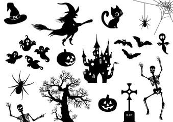 Halloween, Icon, Piktogramm, Set, Sammlung, Vektor, schwarz