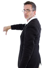 businessman with thumbs down gesture rear view