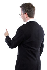 businessman with thumbs up gesture rear view