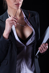 Sexy businesswoman tempting her body