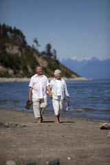 Mature Couple Walking on Ocean Beach