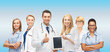 team or group of doctors with tablet pc computer