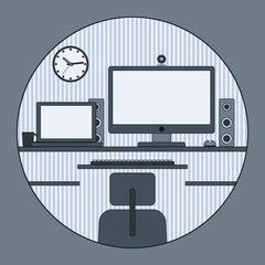 Home workplace vector illustration