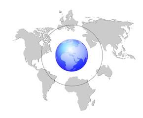 Erde mit einzelnen Kontinenten