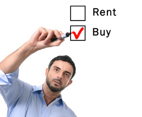 business man choosing rent or buy option real estate concept