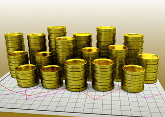 paper financial graph with golden coins
