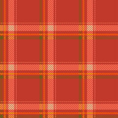 Seamless tartan pattern fabric. Green yellow and white on a red