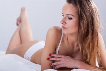 Beautiful mature woman in underwear