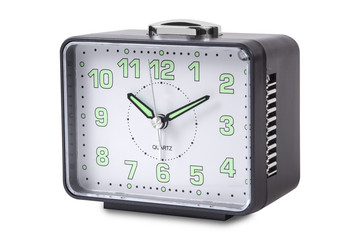 Modern alarm clock isolated en white background.