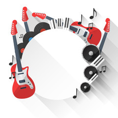 Vector Music Background in Flat style design