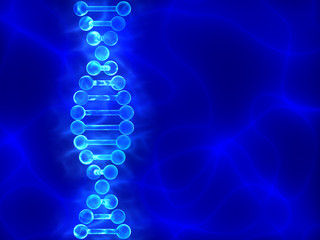 Blue DNA (deoxyribonucleic acid) background.with waves