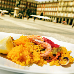 paella in Plaza Mayor in Madrid, Spain