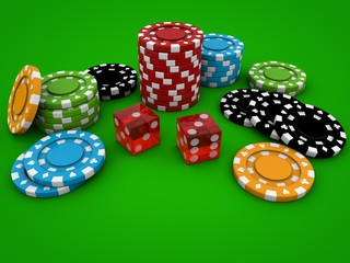 Poker chips with dice on green background