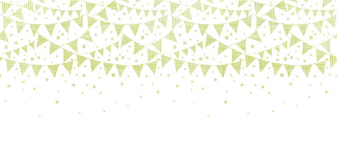 Green Textile Party Bunting Horizontal Seamless Pattern