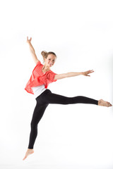 Weight loss fitness woman jumping of joy. Young sporty Caucasian