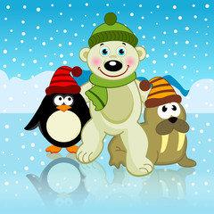 polar bear walrus penguin friends - vector illustration, eps