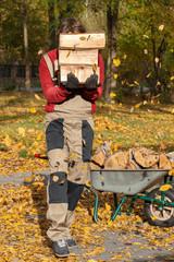 Gardener carring logs