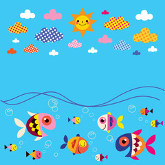 fish, sea, clouds, sun summer background