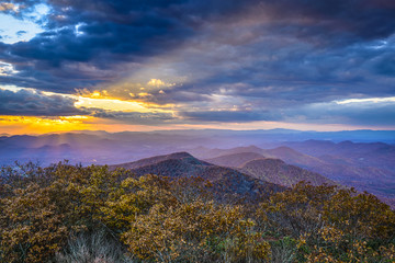 Autumn Sunset in Blue Ridge Mountains