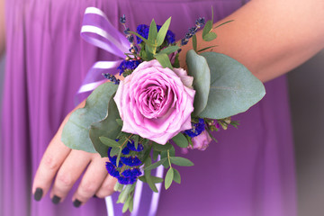 Floristic composition in vintage style. The Provence. Bridesmaid