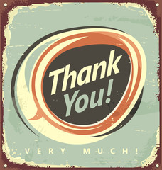 Thank you  - vintage metal sign.