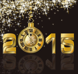 Happy New 2015 Year and golden clock, vector illustration