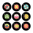 Nine colourful retro vector seven inch singles with labels