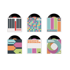 Six vector retro record sleeves, with records