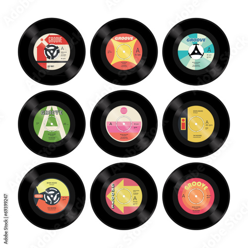 Nine colourful retro vector seven inch singles with labels - 69399247