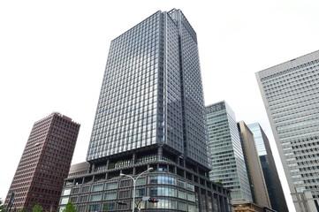Building in Tokyo, Japan, background of blue sky