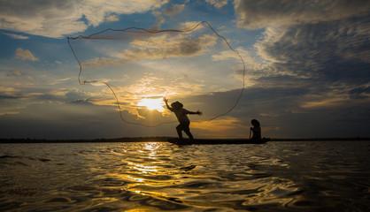 Fishermen fishing by fishnet