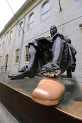 John Harvard statue in Harvard University, Cambridge, USA