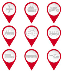 Map pin icons of transports