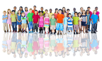 Diverse Group of Children Studio Shot