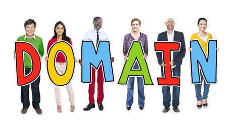 DIverse People Holding Text Domain