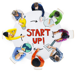 Aerial View of People and Startup Busines Concepts