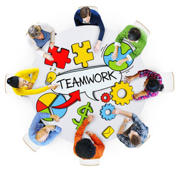 Aerial View of People and Teamwork Concepts