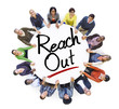People Holding Hands Around the Word Reach out