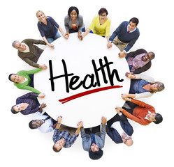 Group of People Holding Hands with Word Health
