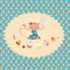 birthday greeting card,cooking cat