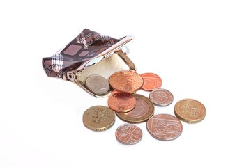Empty open purse and some english coins