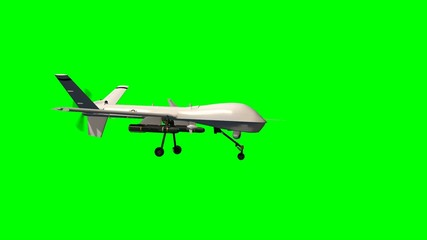 armed predator drone in flight - green screen