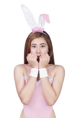 Sexy young girl in lingerie or bunny girl