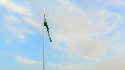 Palais des Nations and flagpole with flag. Dushanbe, Tajikistan