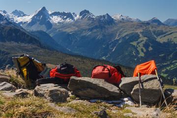 backpacks on footpath in Rhone-Alpes