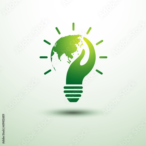 Eco idea with earth and hand,vector illustration - 69402689