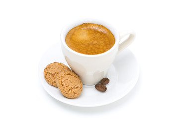 biscotti cookies and espresso, top view, isolated