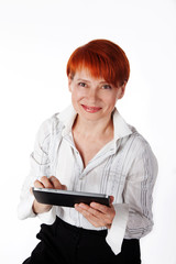elderly woman holding a tablet