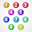 Numbers set, colorful web icon